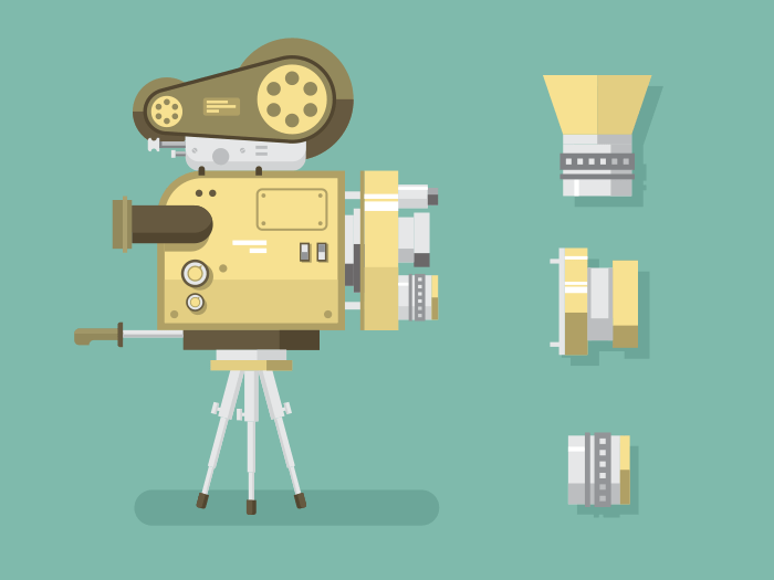 Retro camera flat vector illustration