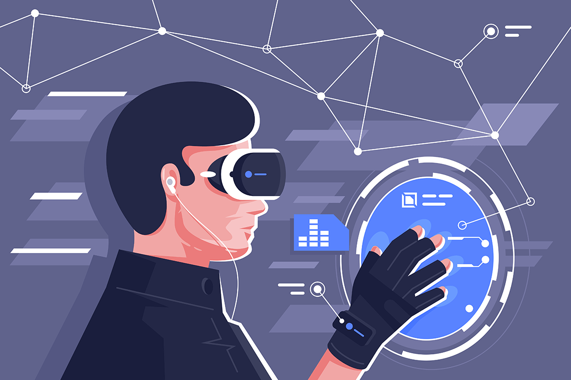 Flat young man with helmet and controllers in virtual reality.
