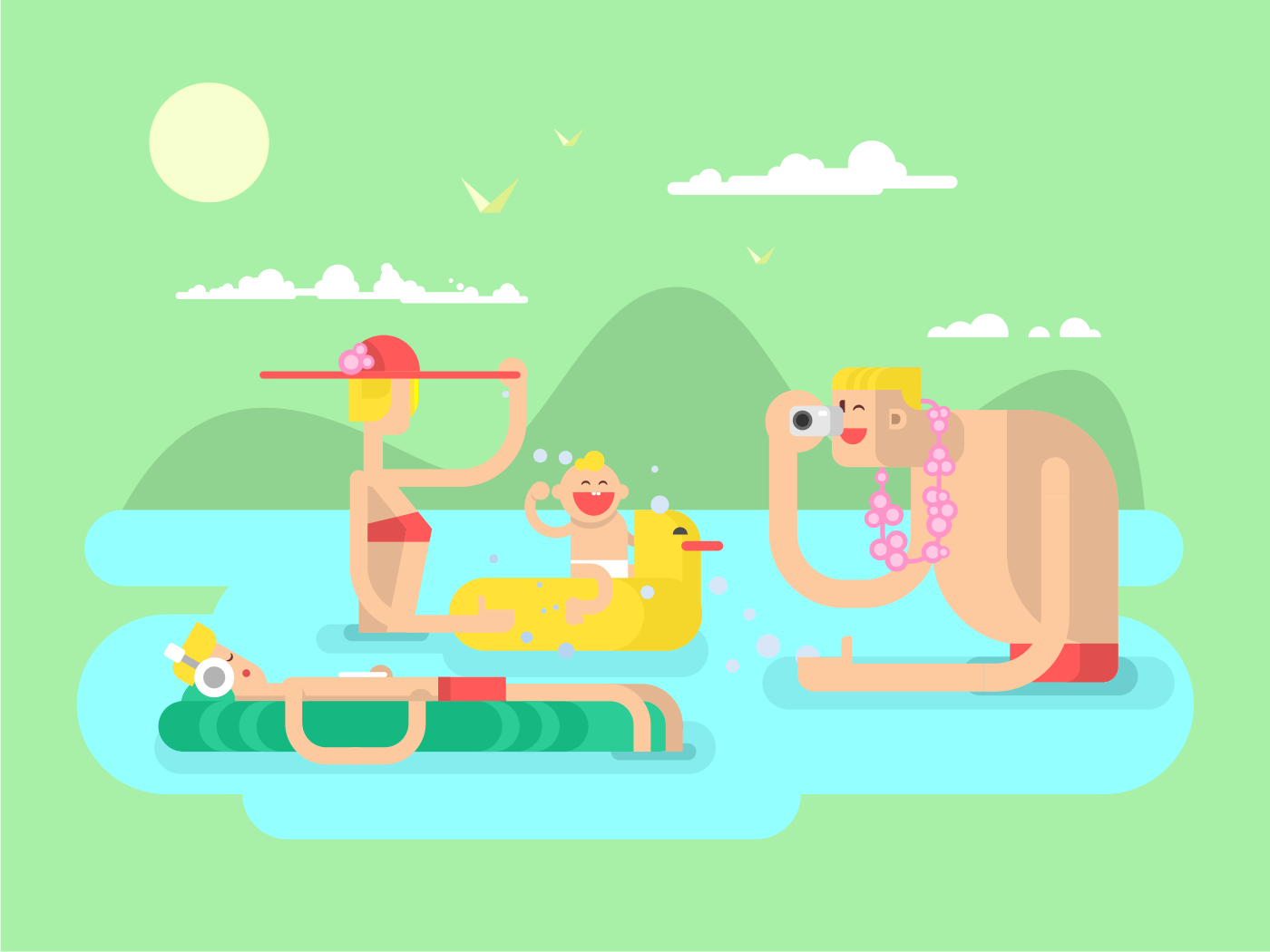 Family on vocation flat vector illustration