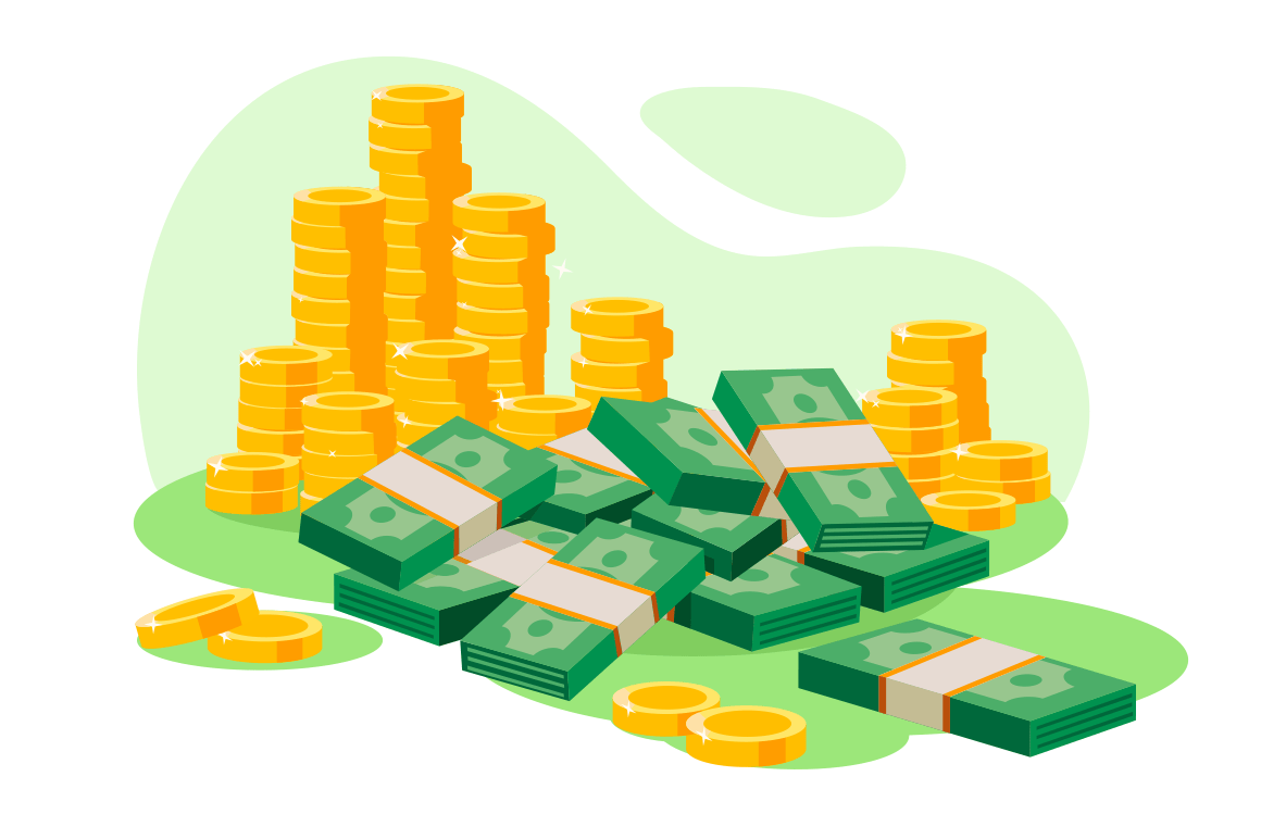 Isometric 3d golden coins, cash, wads of money.