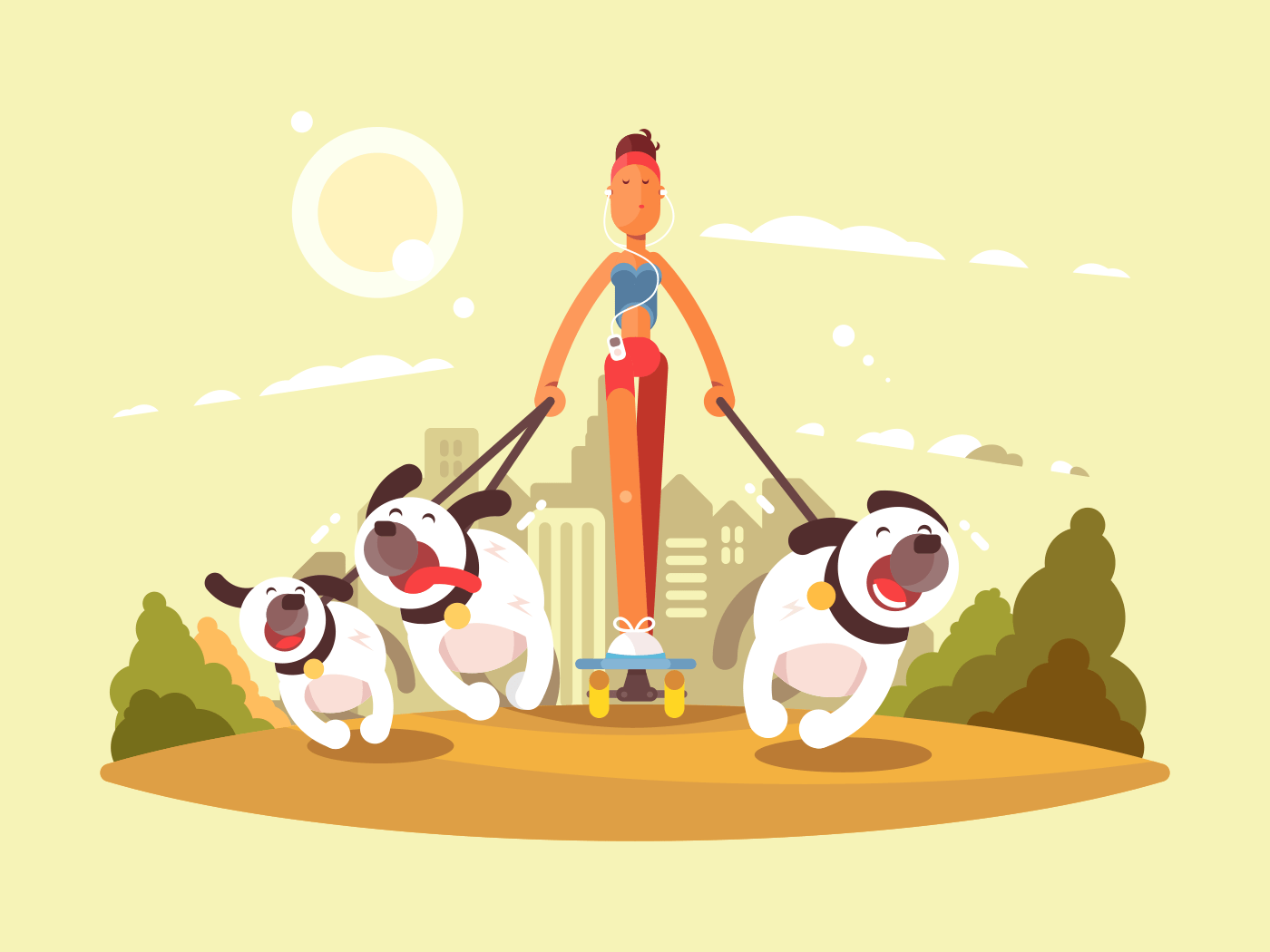 Woman on skate walk with dogs. Stroll in park with favorite pets. Vector illustration flat vector illustration