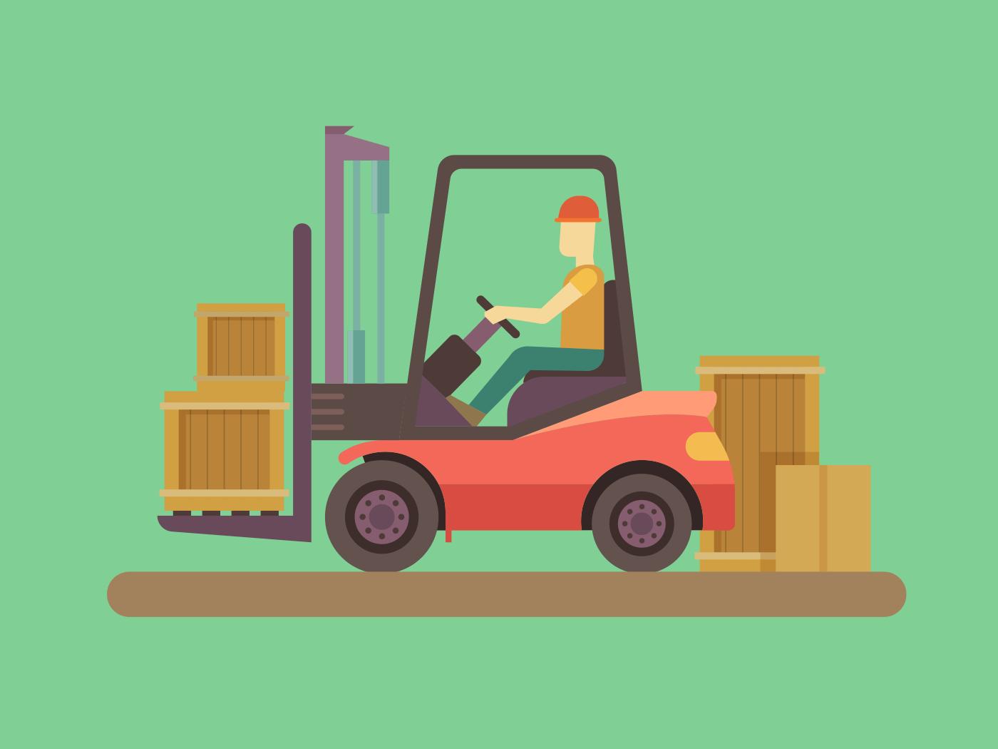 Loading and unloading machine illustration