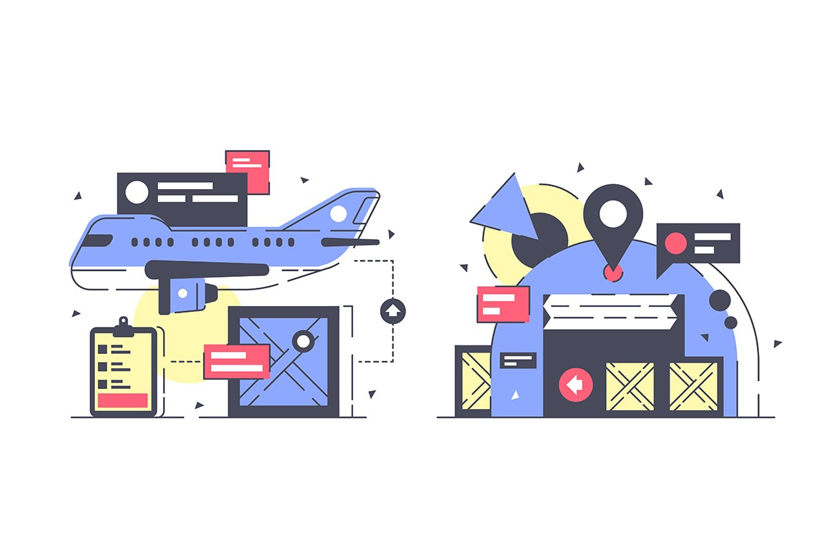 Flat warehouse and logistics icon set with cargo airplane, storage.