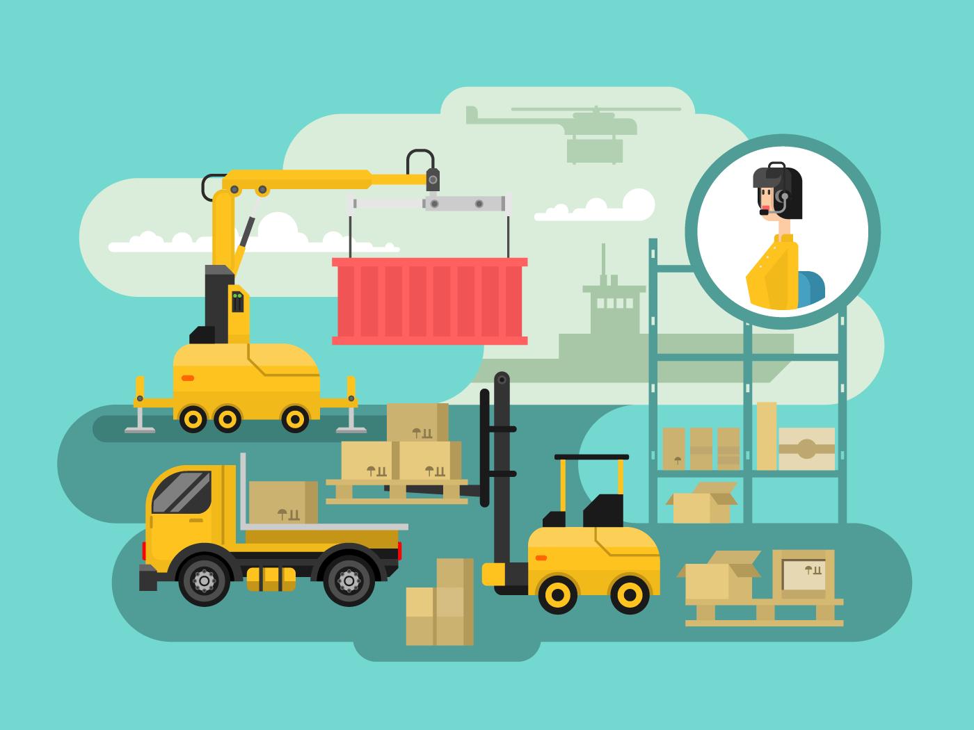 Warehouse logistics concept design flat vector illustration