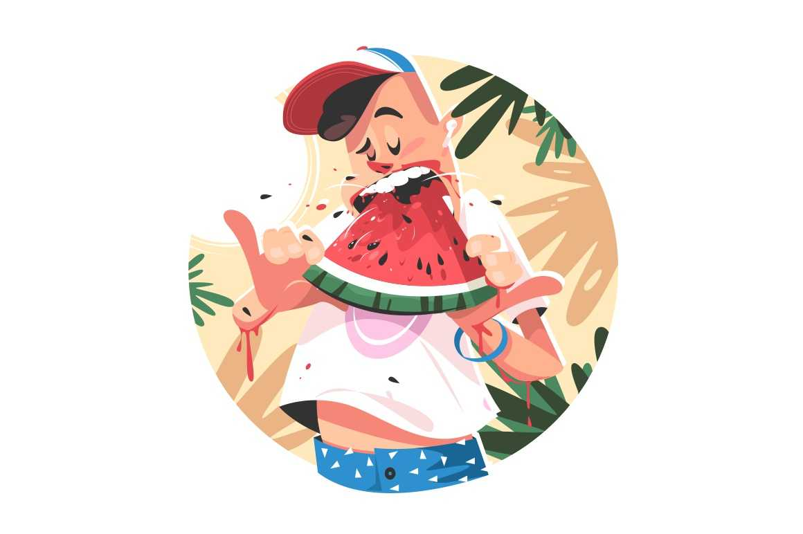 Mellow summer fruit vector illustration. Boy eating juicy ripe watermelon flat style. Healthy food. Palms and relax. Seasonal harvest and yummy dessert concept. Isolated on white background