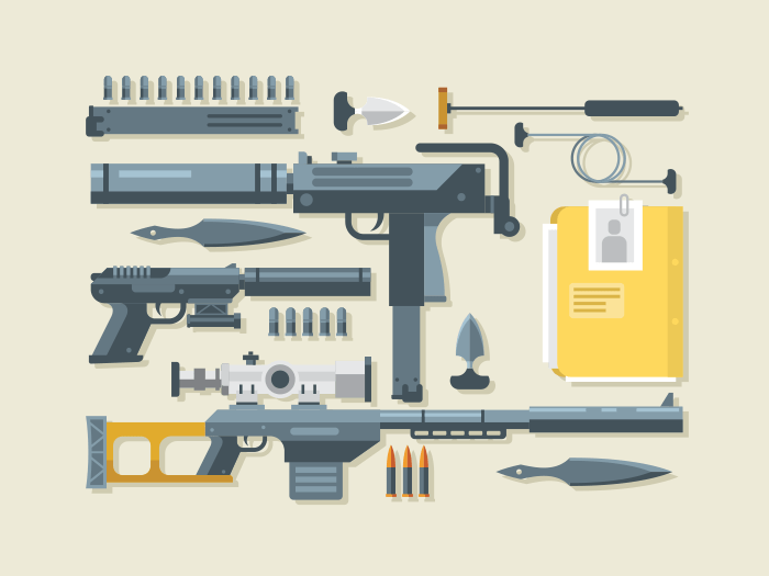 Set of weapon flat vector illustration