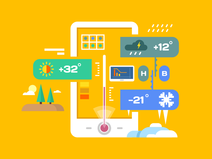 Weather application flat vector illustration