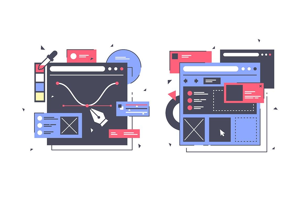 Set icons with web design, laptop, diagram, online app.