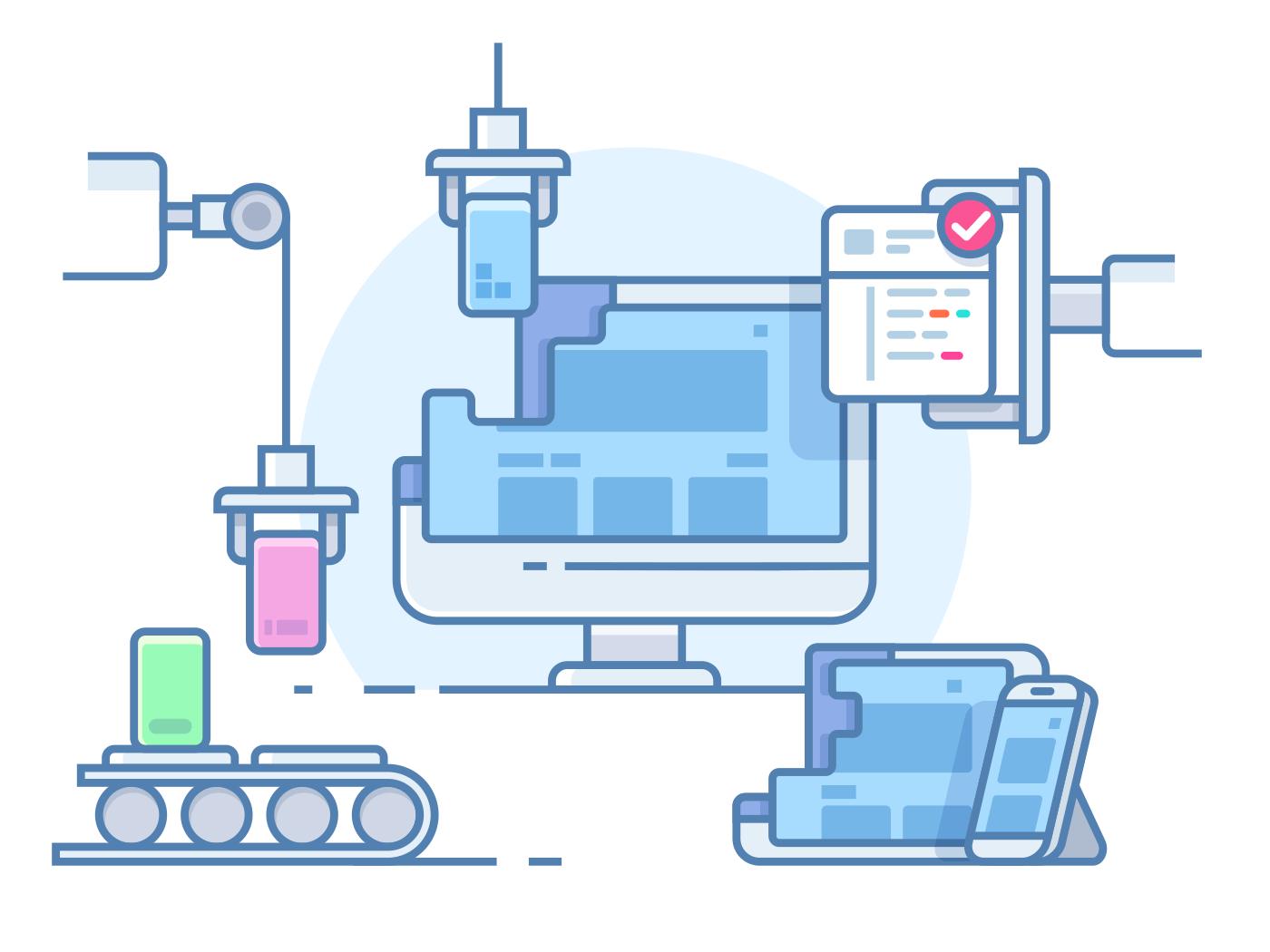 Website building design line vector illustration