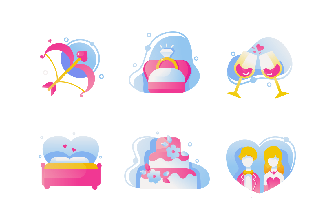 Set icons with love bow, wedding ring, wine, cake, couple, romance bed.