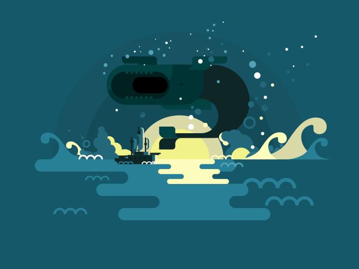 Whale flat vector illustration