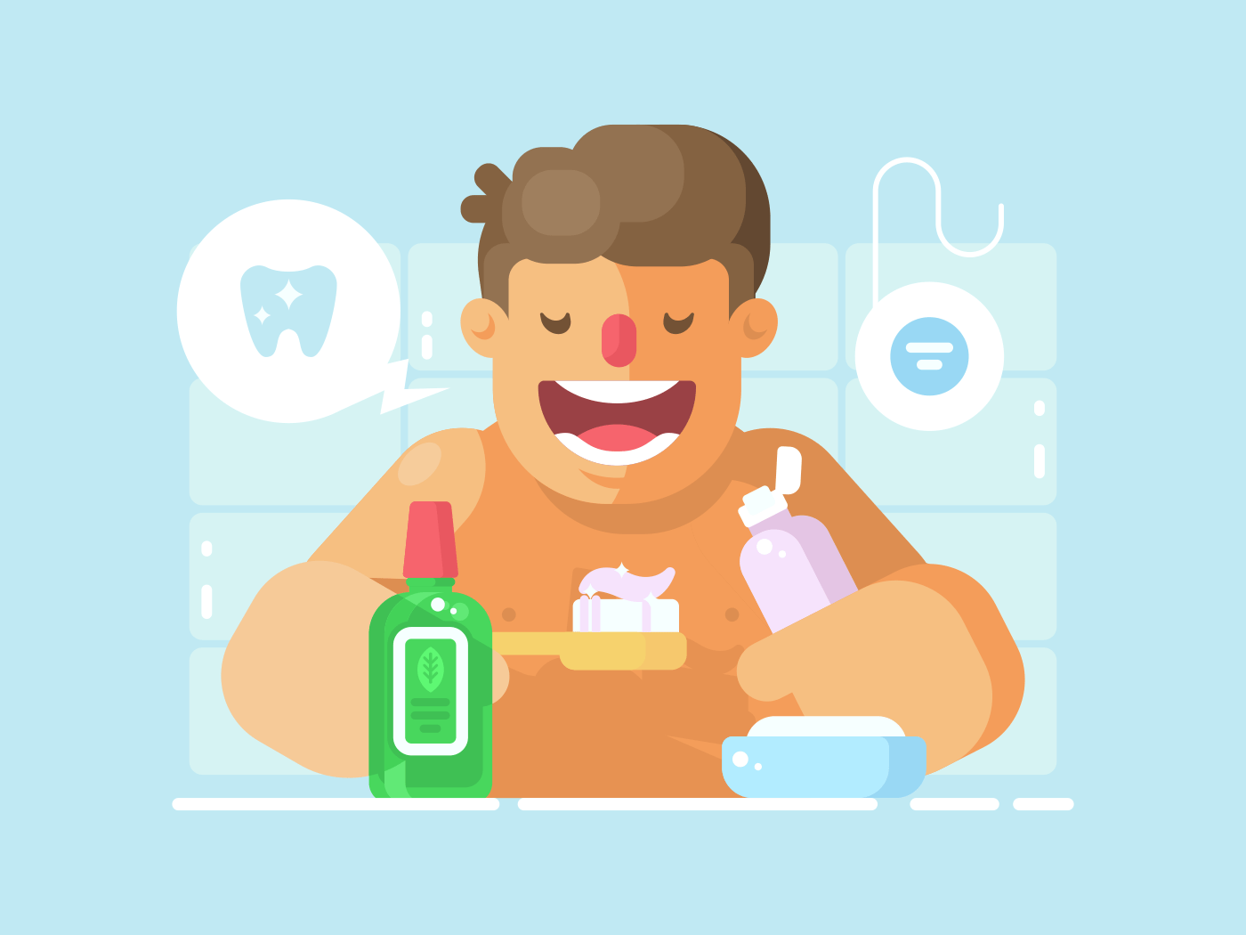 Young guy brushing teeth with whitening paste illustration