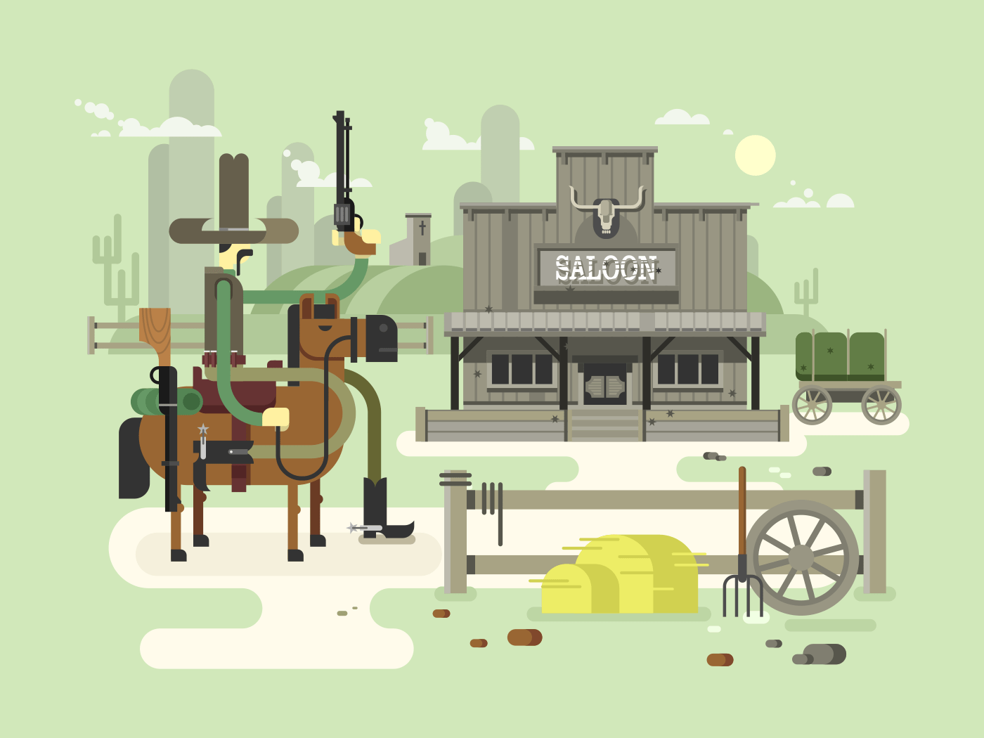 Wild west saloon flat vector illustration