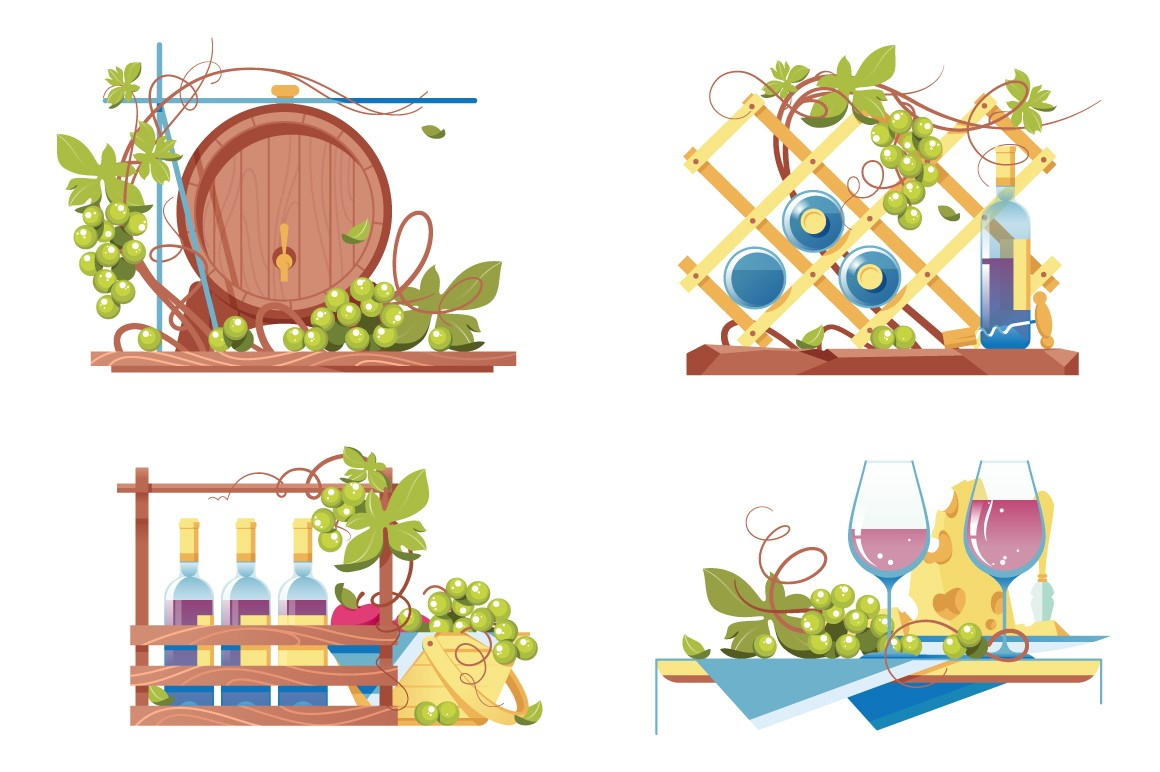 Flat winery icon set with classic wooden barrel, wine bottle