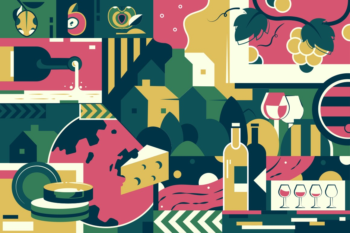 Background of winemaking, cheese and grape