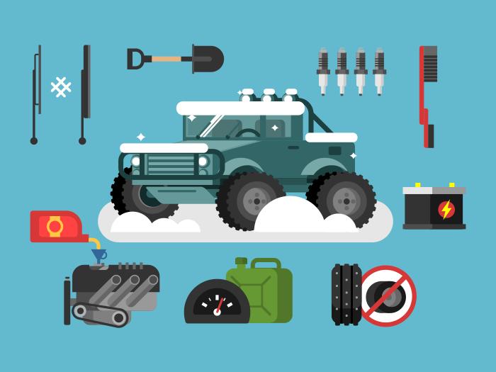 Preparing car to winter flat vector illustration