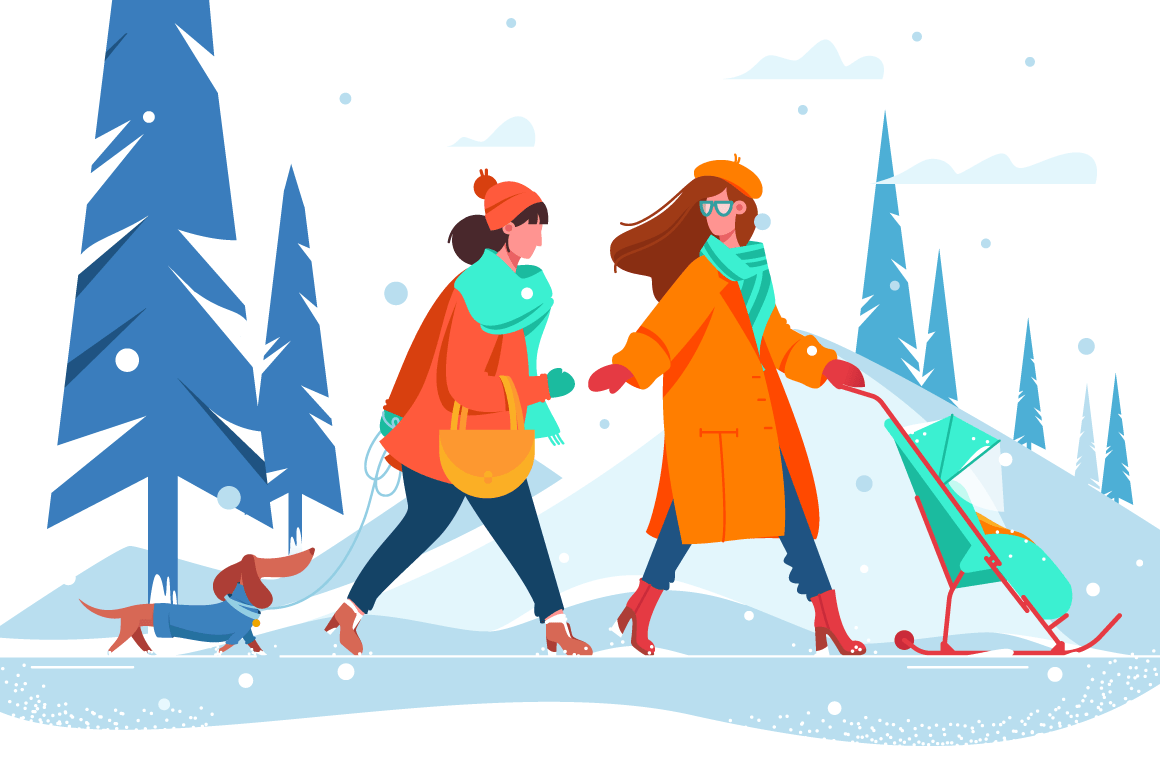 Flat young beautiful women with dog and stroller walking along snowy winter street.