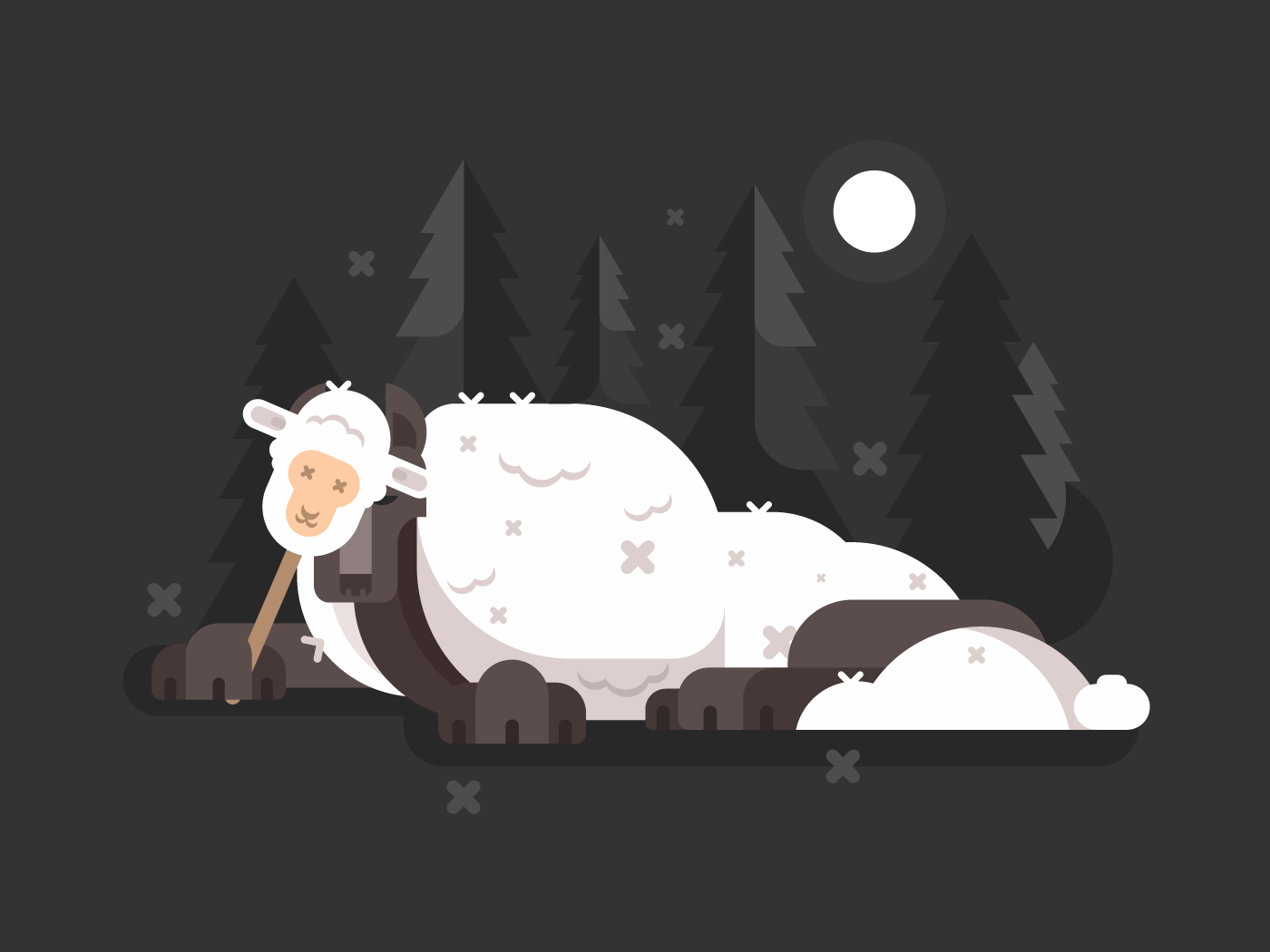 Wolf in sheeps clothing flat vector illustration