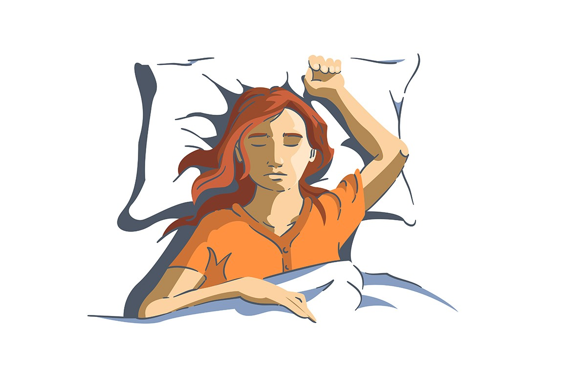 Woman sweetly sleeping on pillow with hand up vector illustration. Female resting in bed under blanket cartoon design. Bedtime at home. Relaxation and sweet dreams concept