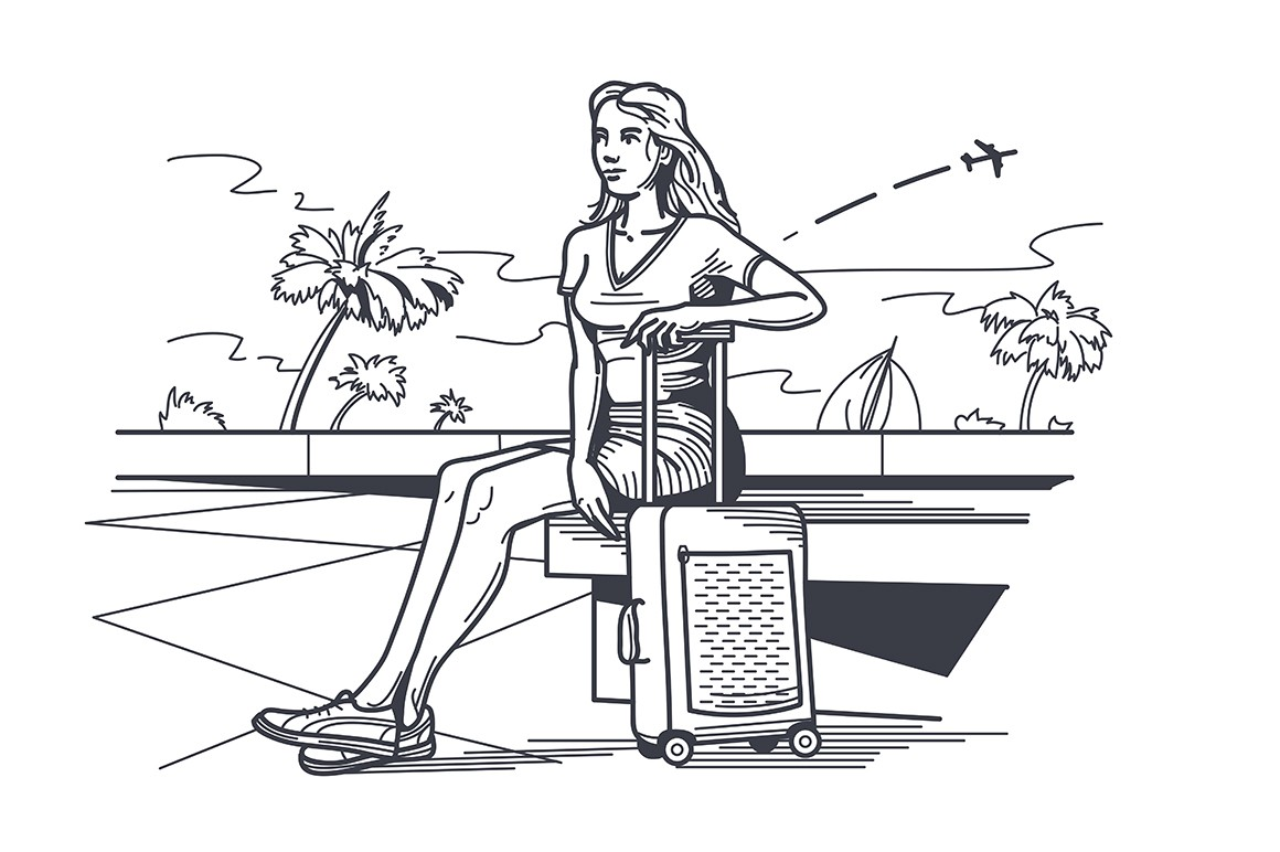 Woman traveler with baggage sitting on bench vector illustration. Airplane flying in sky sketch style. Palm trees on street. Rest and worldwide trip concept. Isolated on white background
