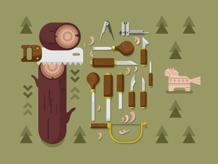 Woodcarving flat vector illustration