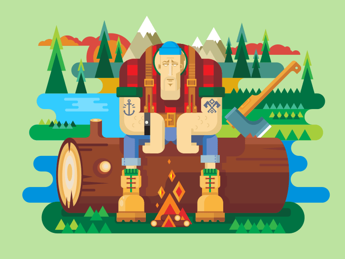 Sawyer sitting on log panel flat vector illustration