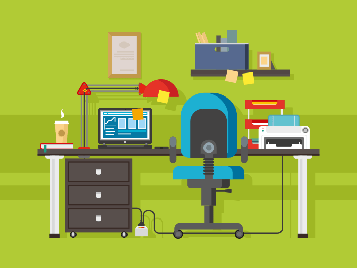 Office workplace flat vector illustration