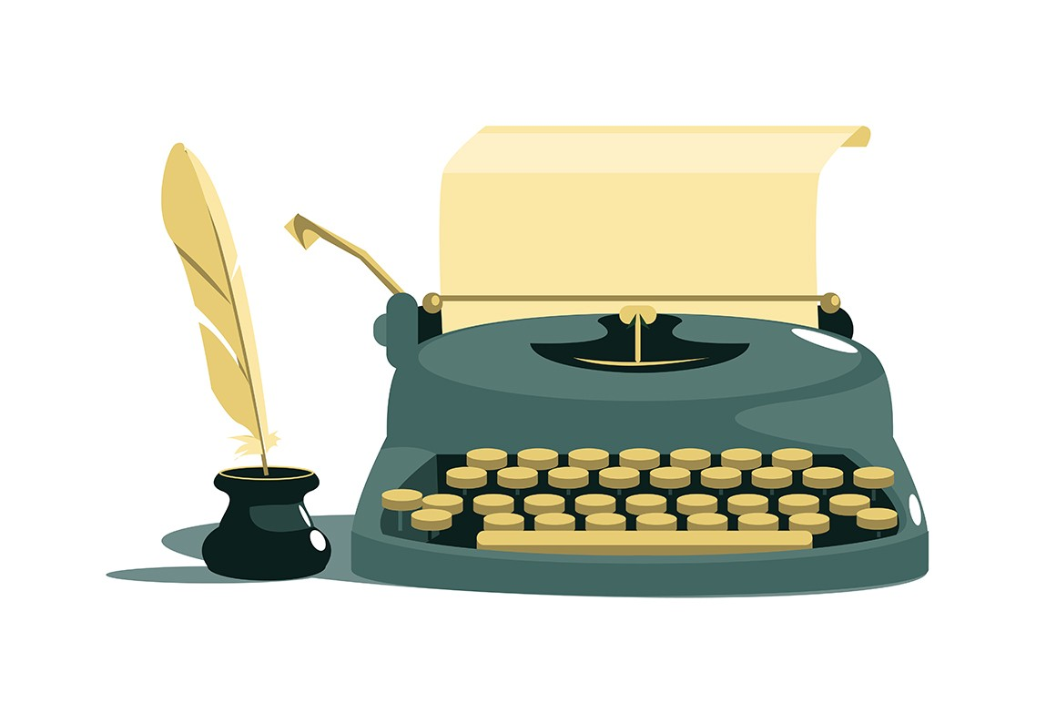 Vintage stylish typewriter with paper and feather vector illustration. Sheet of paper and creative writing sign cartoon design. International authors day concept. Isolated on white background