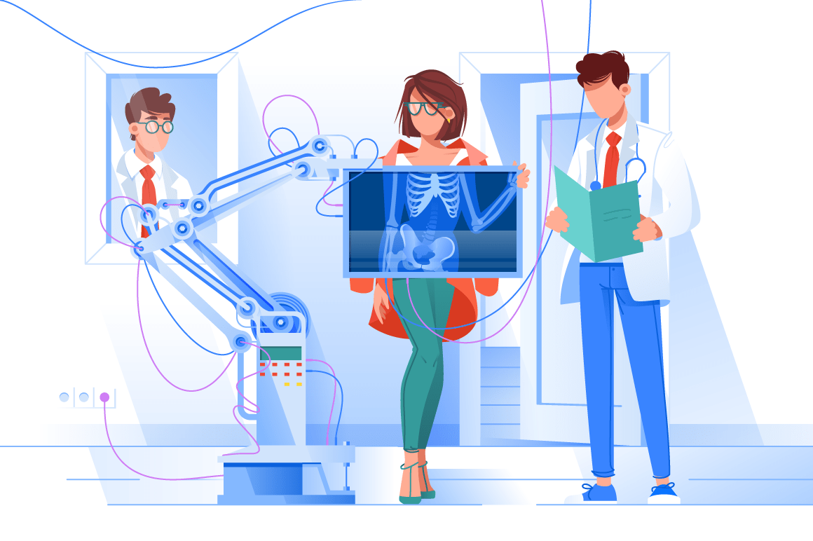 Flat young woman with stylish clothes and glasses at man doctor with x-ray.