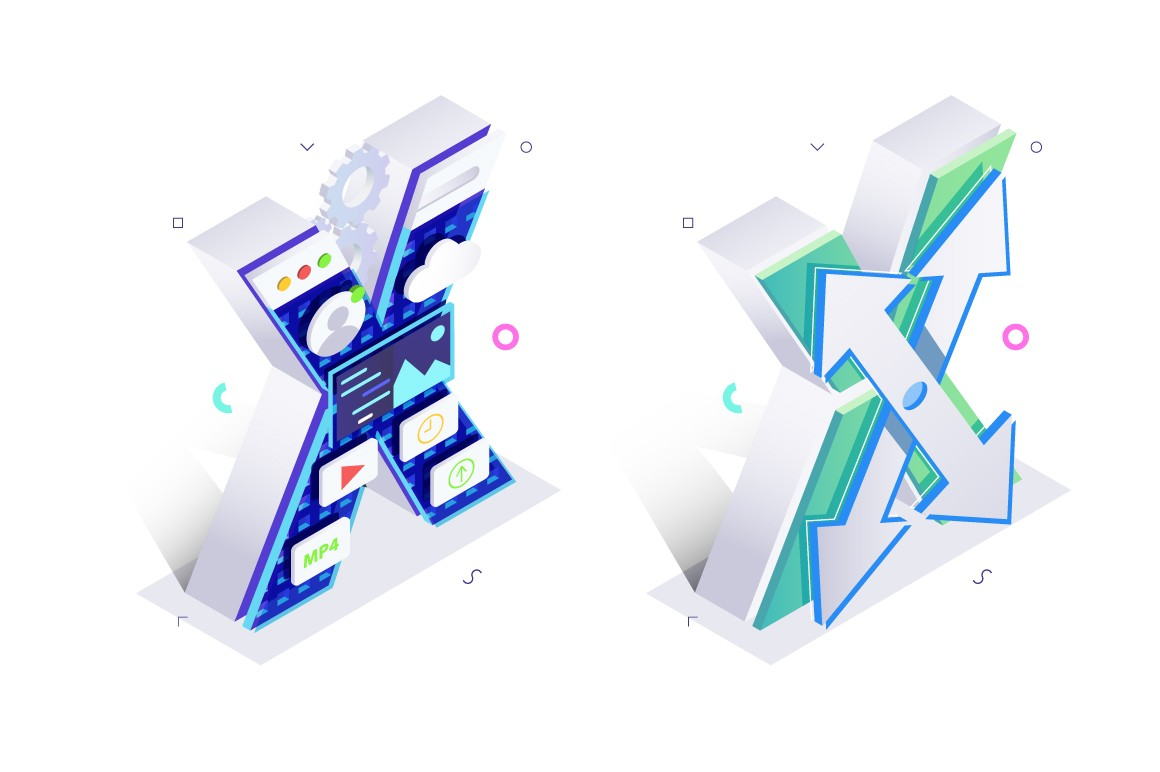 Letter X made with virtual internet style