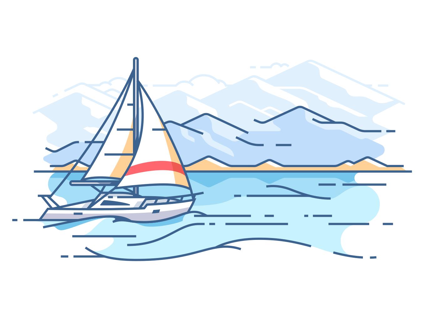 Sailing yacht in sea. Boat trip on ocean. Vector illustration