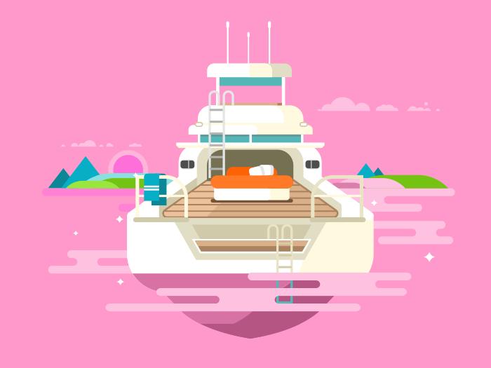 Yacht flat vector illustration