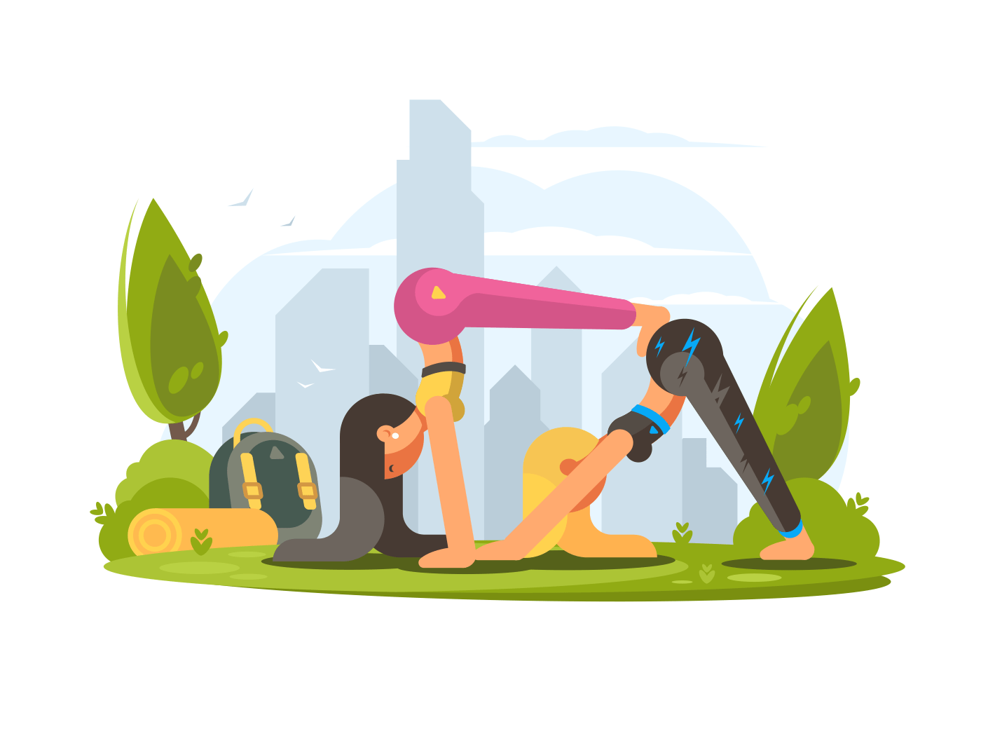 Young attractive girls practice yoga in park. Vector flat illustration