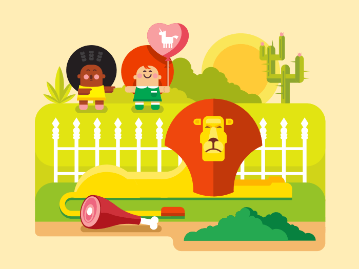 Lion zoo flat illustration