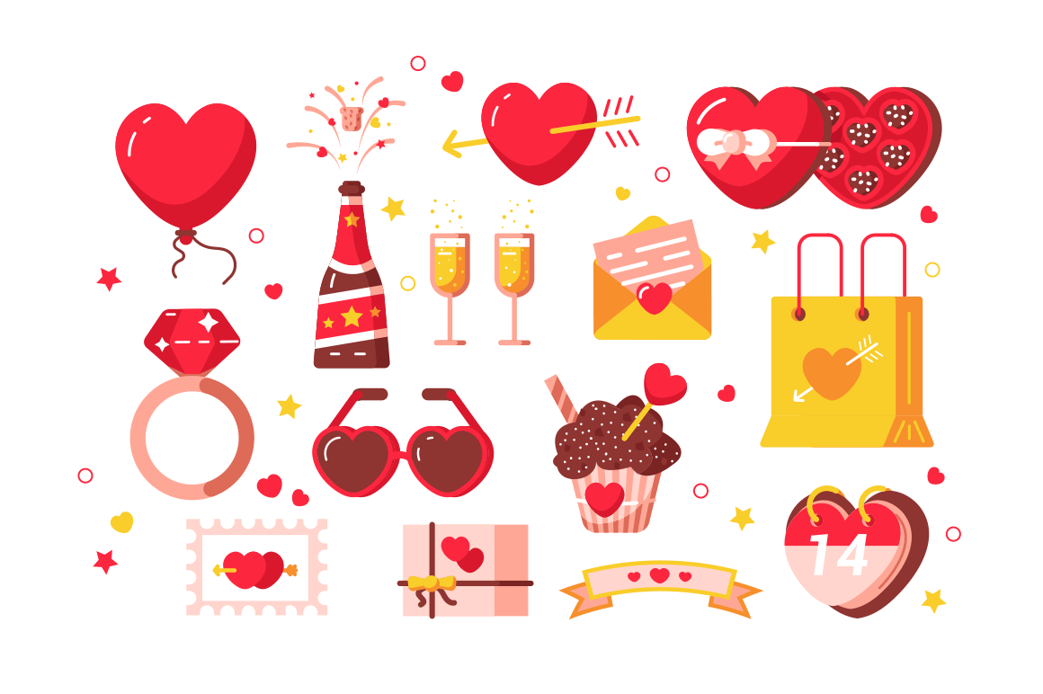 About love set vector illustration. Hearts, present box, chocolate candy with ribbon bows and diamond ring symbols of february romantic holiday or wedding flat style design. Valentines Day concept