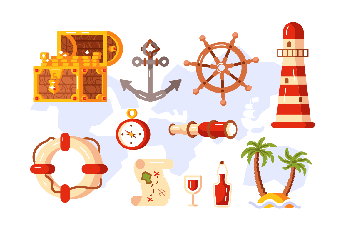 Adventure symbols set vector illustration. Treasure chest anchor lighthouse compass map spyglass lifebuoy bottle of rum palm tree and steering wheel signs flat style concept