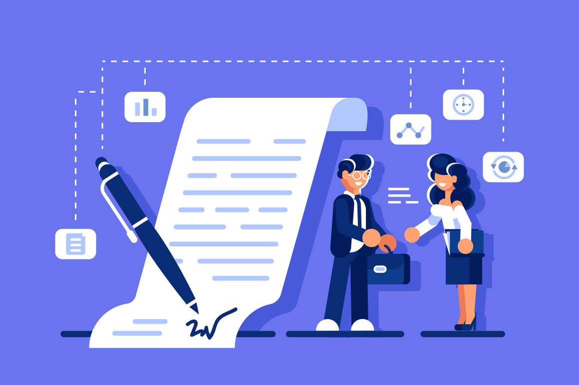 Successful business agreement. Smiling businessman and businesswoman shaking hands and agree to sign contract after discussion vector illustration. Partnership concept flat style design