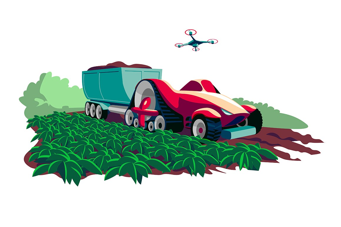 Process of harvesting crops on modern machine vector illustration. Current technologies and vehicles cartoon design. Agricultural machinery business concept. Isolated on white