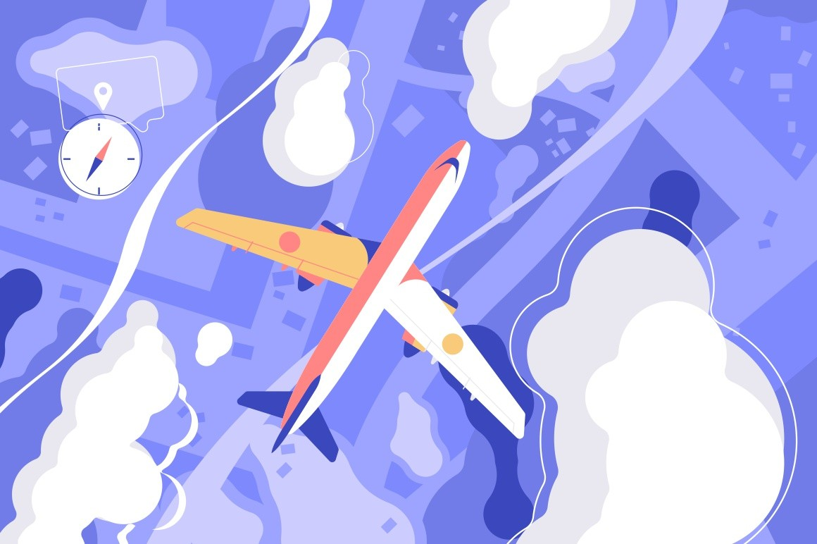 Flying airplane in sky vector illustration. Flight of aircraft among white clouds for travel and tourism design flat style concept. Ground and compass symbol