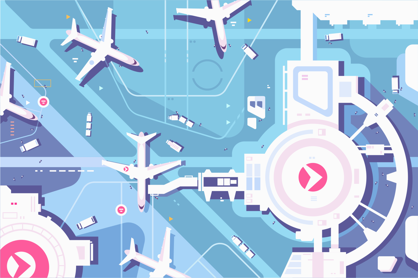 Terminal airport, airplanes and landing strip view from above. Vector illustration