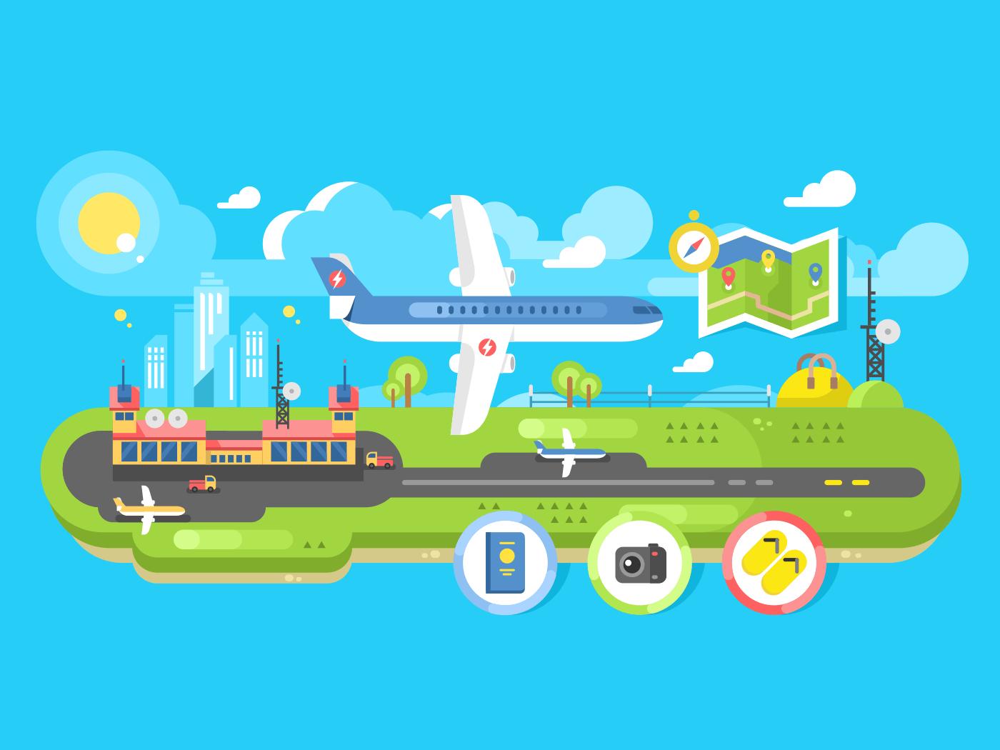 Airport building infrastructure flat vector illustration
