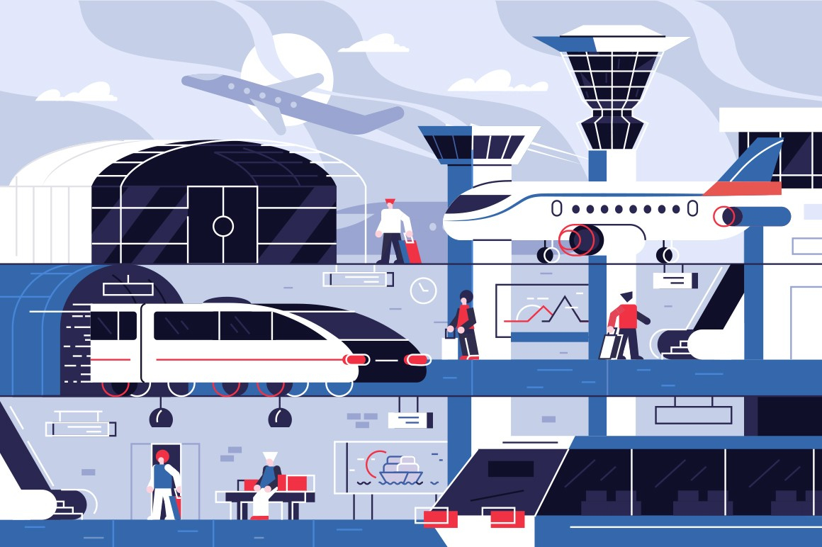 Modern airport building vector illustration. Template with air terminal construction presenting get on board receipt of baggage customs control and waiting hall flat style concept