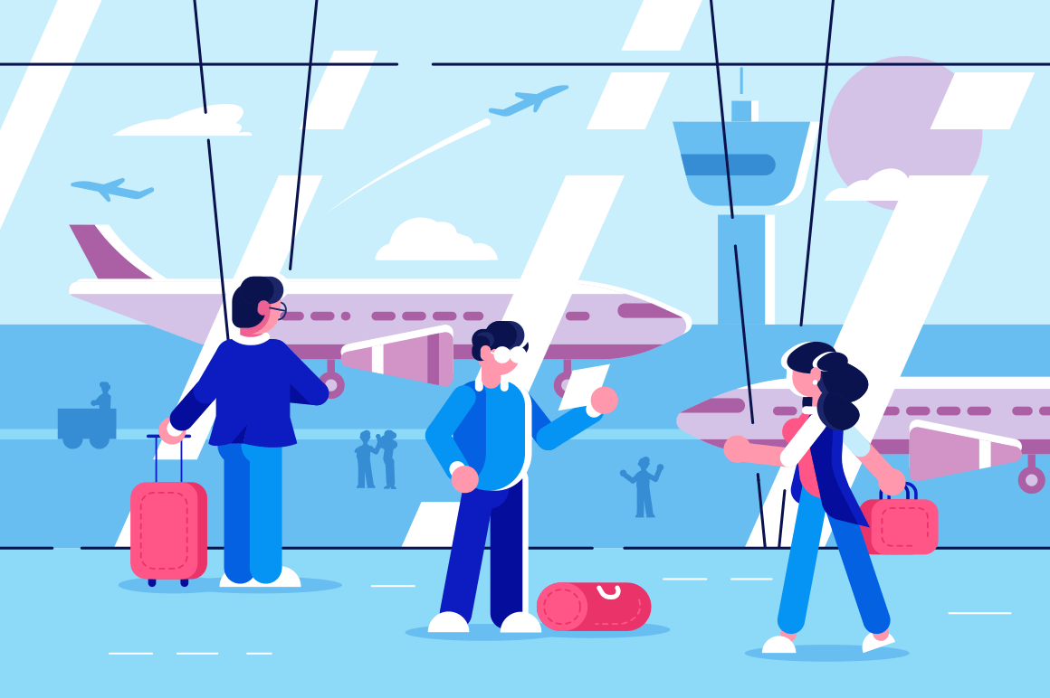 People at airport terminal vector illustration. Men and women traveler waiting of departure AP flat style design. Waiting room interior. Aircraft travelling concept
