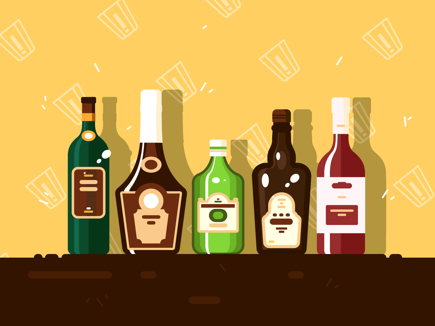 Alcohol bottle set. Brandy and wine, alcoholic beverages vector illustration