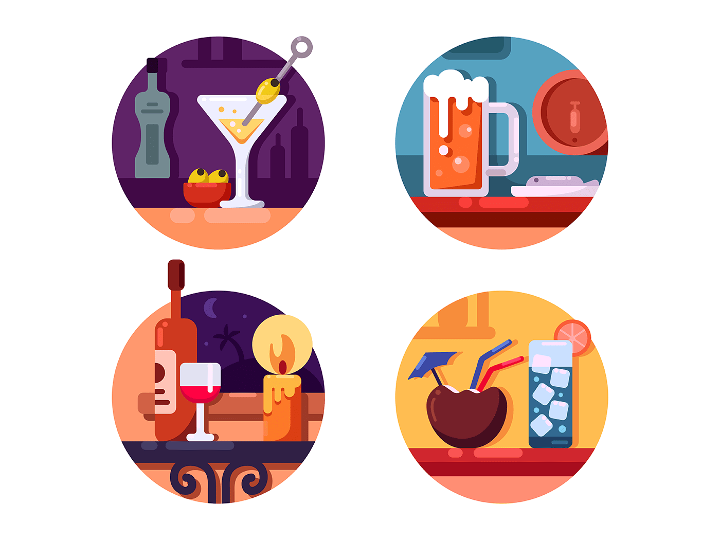 Set of alcoholic beverages icons