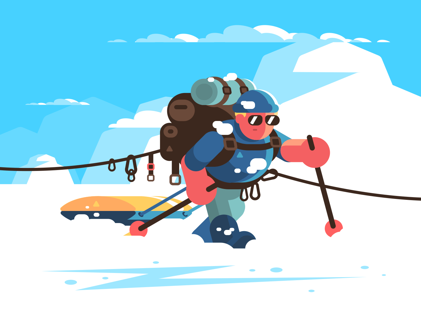 Man alpinist character with equipment in snowy mountains. Vector illustration
