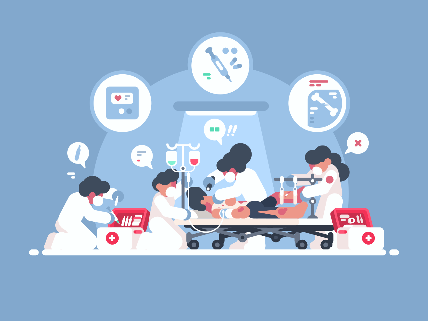 Emergency first aid. Group of doctors saves person life. Vector illustration