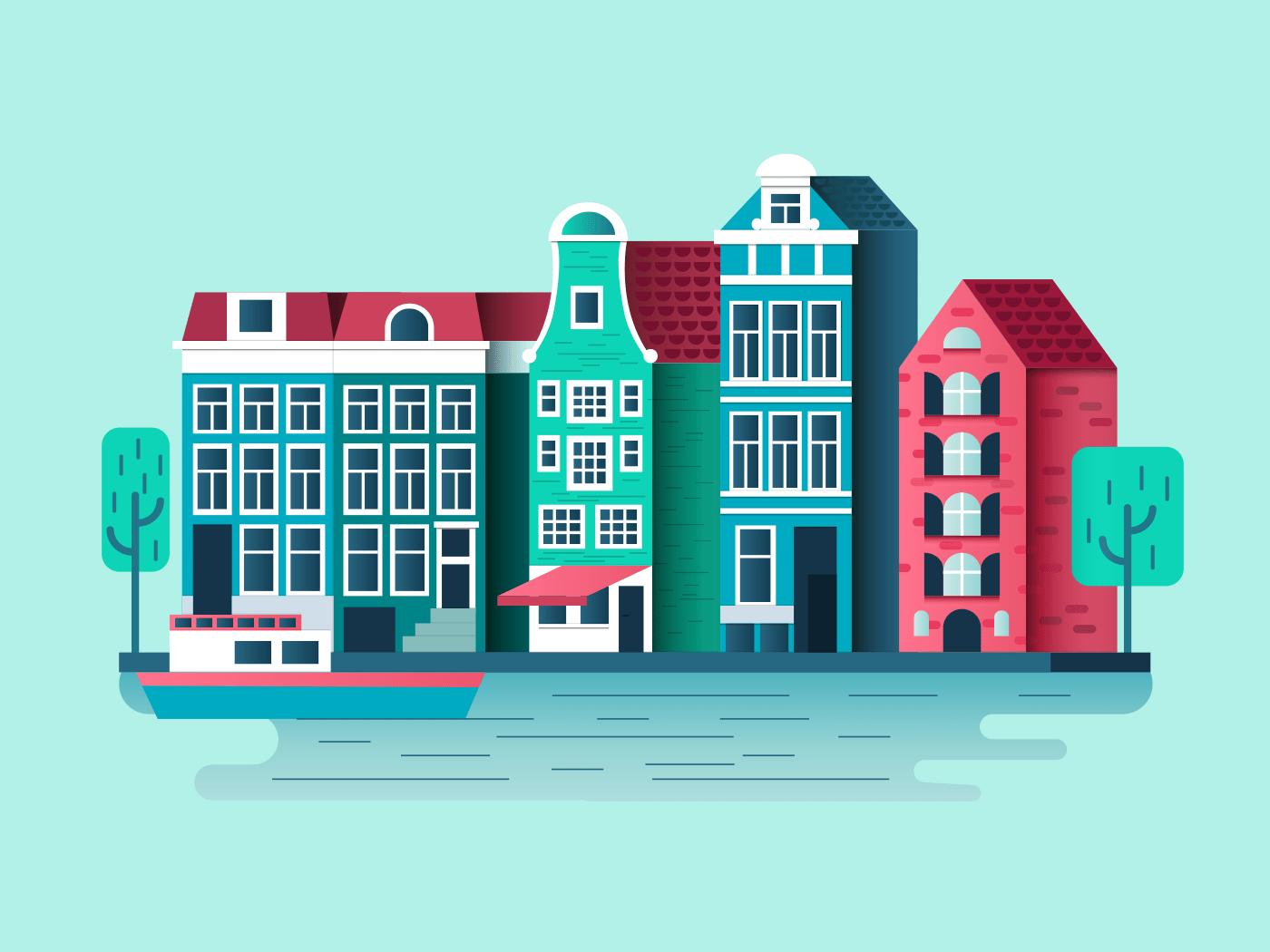 Amsterdam city design illustration
