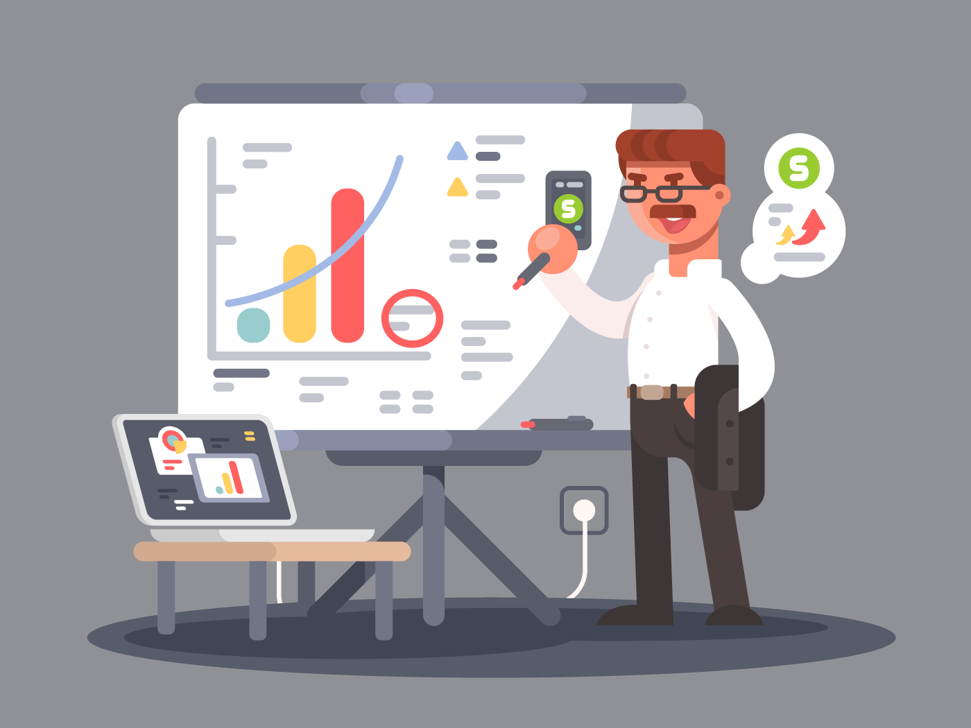 Business analyst flat vector illustration