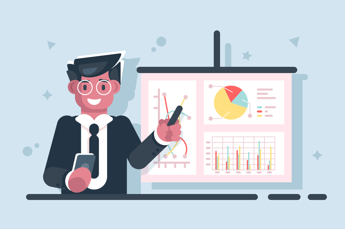 Cartoon businessman with pointer stick presentation chart vector illustration. Smiling analyst doing financial report and pointing important section of graphs flat style concept